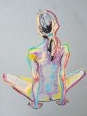 Pastel on buff paper