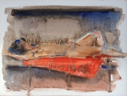 Reclined Ultra Turps, A5 on Arches oil paper